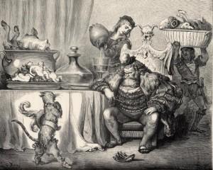 L'ogre le reçut aussi civilement que le peut un ogre...
