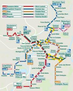 Карта трамвайных маршрутов Страсбурга