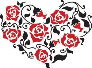 Розы и сердце - издавна являются символами любви